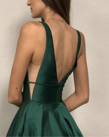 V-neck Long A-line Emerald Green Satin Prom Dresses, PD0974