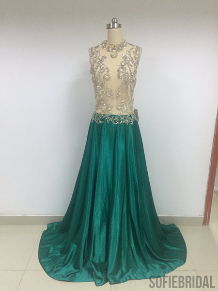 See Through Emerald Green Satin Prom Dresses_US6, SOD010