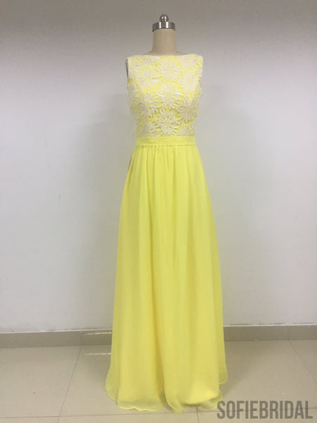 Yellow Chiffon Bridesmaid Dresses_US4, SOD011