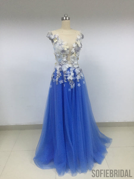Blue Floral Tulle Prom Dresses_US4, SOD008