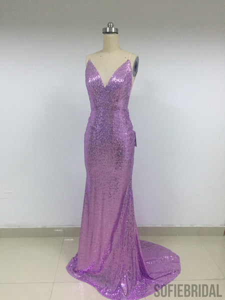 Purple Sequin Long Mermaid Prom Dresses_US4, SOD009