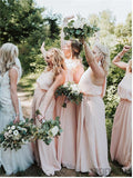 Sheath Halter Sleeveless Pink Chiffon Bridesmaid Dresses With Split, BD1083