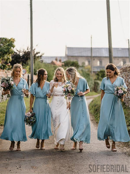 A-line V-neck Short Sleeves Ankle-length Simple Cheap Bridesmaid Dresses, BD1060