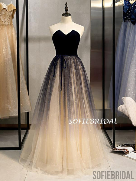 A-line Floor-length Strapless Lace-up Back Long Tulle Prom Dresses, PD1015