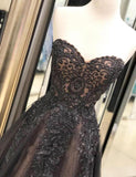 A-line Sweetheart Lace Appliques Beading Tulle Prom Dresses, PD0091