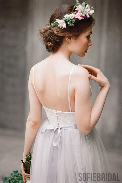 Simple Illusion Spahgetti Straps Tulle A-line Wedding Dresses Online, WD369