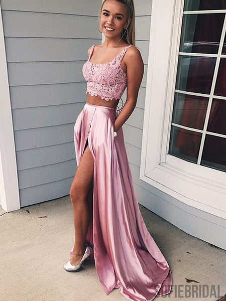 2 Pieces Pink Lace Satin Side Slit Long Prom Dresses, PD0840