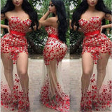 Sweetheart Red Appliques Beaded See Through Long Mermaid Prom Dresses, PD0272