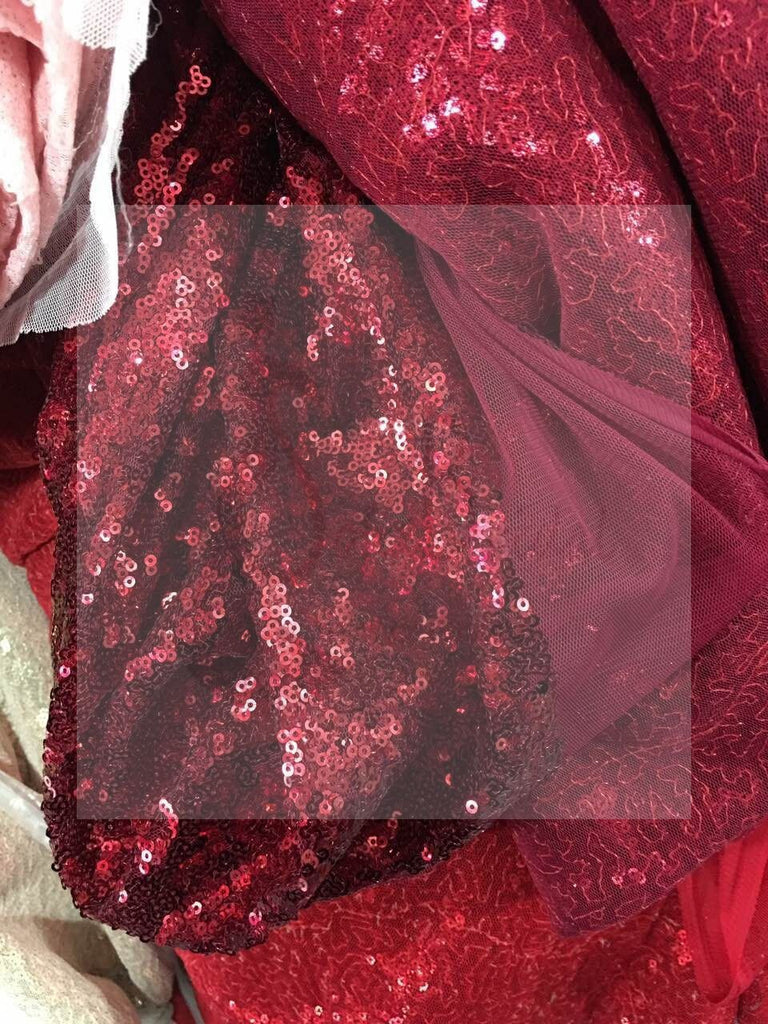 Sexy Red Sequin Mermaid Side Slit Prom Dresses, New Arrival Cheap Prom Dress