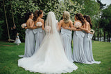 Strapless Mermaid Bridesmaid Dresses, Light Blue Bridesmaid Dresses, Cheap Bridesmaid Dresses, PD0705