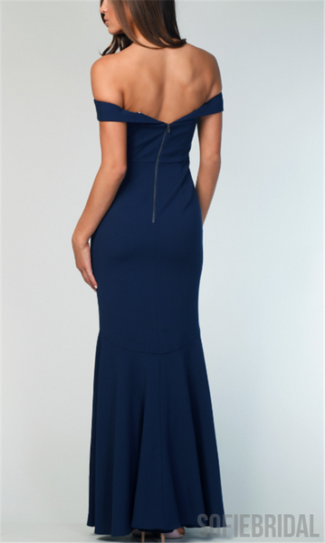 Off Shoulder Long Sheath Navy Bridesmaid Dresses, PD0929