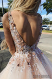 Charming A-Line V-Neck Floor-Length Appliques Beading Prom Dress, PD0066
