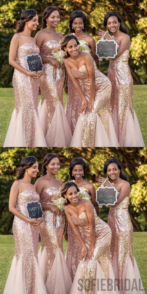 Sparkly Mermaid Sweetheart Sequins And Tulle Long Bridesmaid Dresses, BD1055