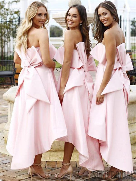 A-Line Strapless Strapless Pink Satin Bridesmaid Dresses With Bowknot, BD1057