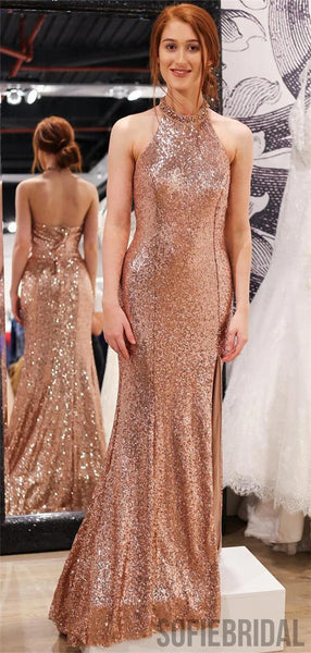 Sheath Halter Sleeveless Fulle Sequins Long Prom Dresses With Split, PD0107