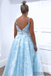 A-line Floor-length Spaghetti Straps V-neck Appliques Long Prom Dresses, PD0108
