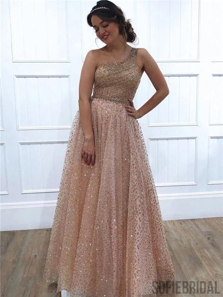 Sparkly A-line Floor-length One-shoulder Long Beading Prom Dresses, PD0109