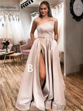Strapless Elegant Simple Cheap Long Prom Dresses With Split, PD0110