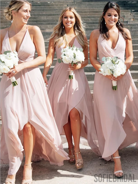 Spaghetti Straps V-neck High Low Blush Pink Bridesmaid Dresses, BD1066