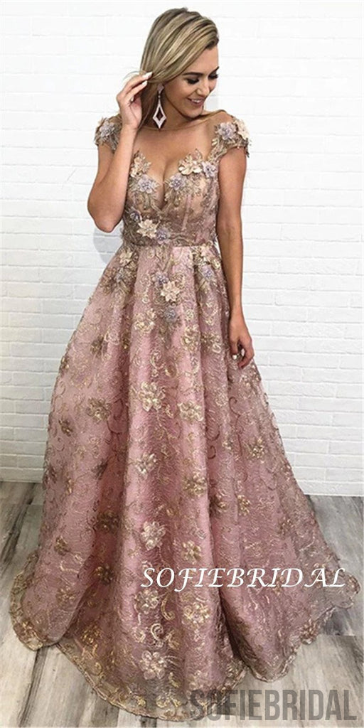 A-line Floor-length Cap Sleeves Appliques And Beading Long Prom Dresses, PD0123