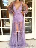 Sheath V-neck Long Sleeves All Beadings See-though Long Tulle Prom Dresses, PD0125
