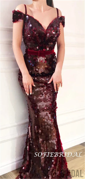 Mermaid Off-shoulder V-neck Long Sequins Prom Dresses With Belt, PD0127