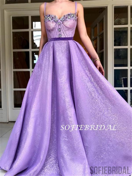 A-line Spaghetti Straps Sweetheart Appliques Long Prom Dresses, PD0128