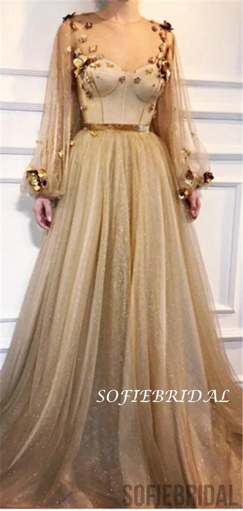 A-line Round Neck Long Sleeves See-though Appliques Long Prom Dresses, PD0129