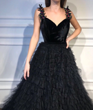 A-line V-neck Appliques Strpas Long Black Tulle Prom Dresses, PD0130