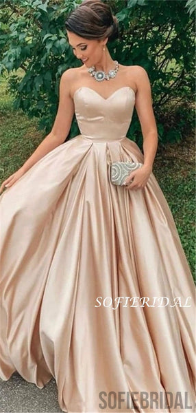 Strapless Eleagnt Champagne Ball Gown, Long Cheap Prom Dresses, PD1001