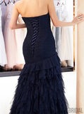Mermaid Strapless Navy Blue Tulle Lace-up Back Prom Dresses With Pleats, PD1002