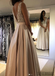A-line Floor-length V-neck Beading Top Long Prom Dresses, PD1005