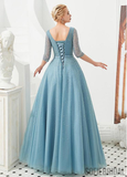 A-line Floor-length V-neck Half Sleeves Sequins Lace-up Back Prom Dresses, PD1010