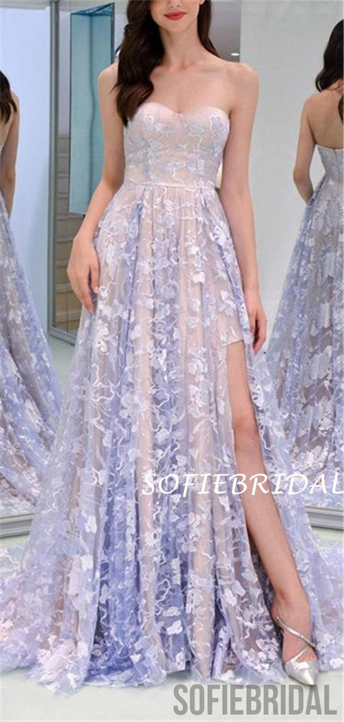 A-line Strapless Newest Lace Appliques Prom Dresses With Split, PD1016