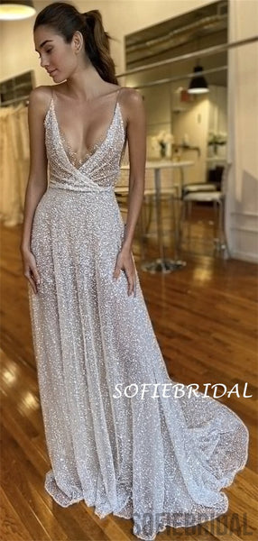 A-line Spaghetti Straps V-neck Sexy Long Prom Dresses, PD1026