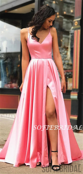 A-line V-neck Long Simple Pink Prom Dress With Split, PD1029