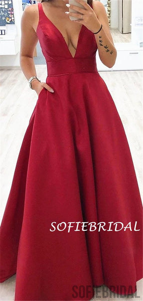 A-line Deep V-neck Sleeveless Long Red Satin Prom Dresses, PD1031