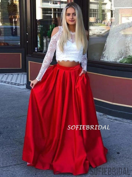Two-pieces Long Sleeves Lace Top Long Prom Dresses With Pockets, PD1032