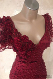 Mermaid V-neck Short Sleeves Beading And Appliques Burgundy Prom Dress, PD1033
