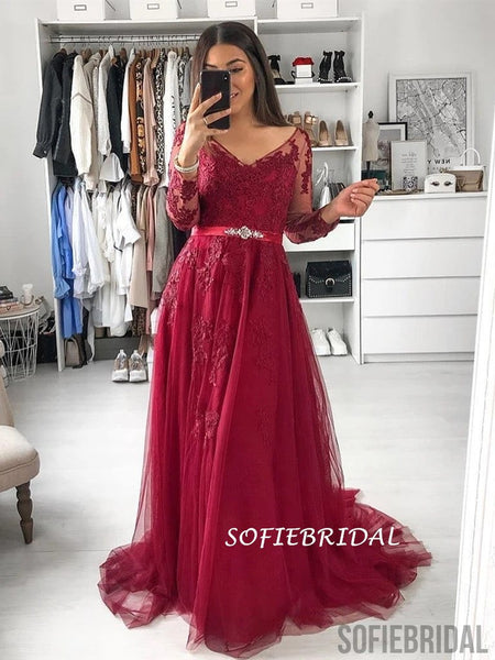 A-line V-neck Long Sleeves Lace Long Burgundy Tulle Prom Dress, PD1035