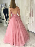 Shiny A-line Spaghetti Straps V-neck Long Tulle Prom Dresses With Pleats, PD1038