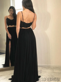 Two-pieces Spaghetti Straps Lace Top Black Prom Dresses With Split, PD1039
