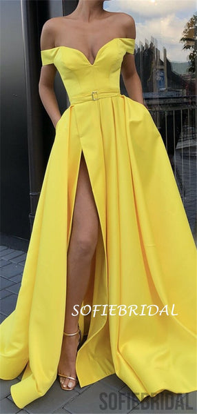 A-line Off-shoulder Long Yellow Prom Dresses With Split, PD1040