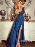 A-line V-neck Long Sleeves Lace Appliques Prom Dresses With Split, PD1043