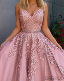 A-line Floor-length Straps Lace Appliques Long Tulle Prom Dresses, PD1044