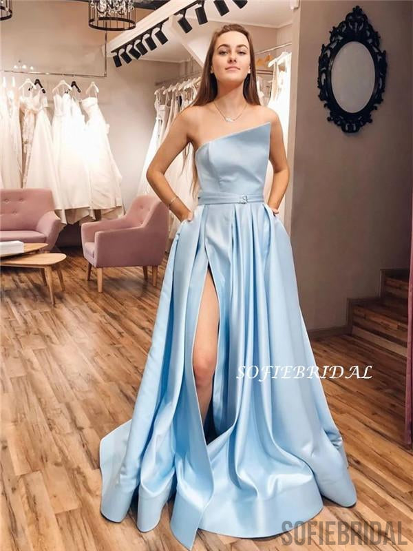 A-line Strapless Split Long Light Blue Prom Dresses With Pockets, PD1047