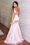 Mermaid Off-shoulder Simple Long Pink Elegant Prom Dresses, PD1049