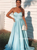 Strapless A-line Sweetheart Sky Blue Simple Satin Prom Dresses, PD1051