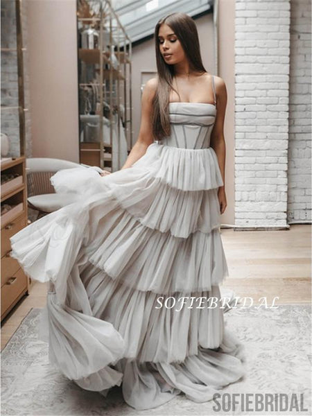 2020 A-line Spaghetti Straps Light Grey Tulle Prom Dresses, PD1053