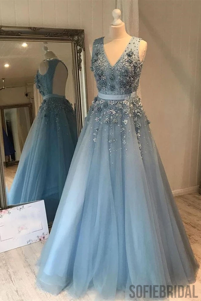 A-line V-neck Sleeveless Appliques Open-back Long Tulle Prom Dresses, PD1054